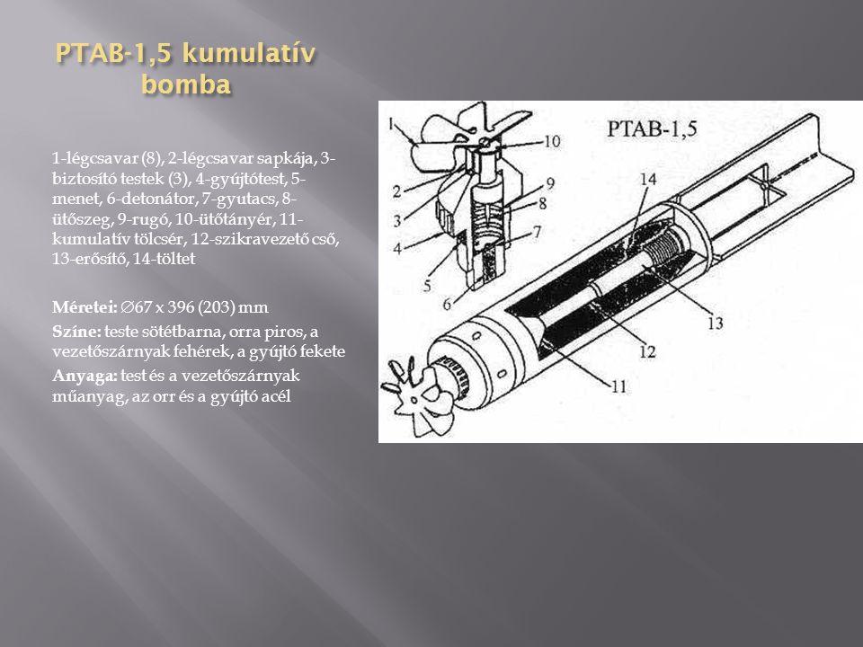 KRAB-25 JaD vegyi bomba 1-fejgyújtó, 2-fejadapter, 3-detonátor, 4- vegyianyag, 5-hegsztés, 6-távtartó gyűrű, 7- belső test, 8-függesztőszem, 9-bombatest, 10- távtartó gyűrű, 11-bombafenék, 12-hegsztés, 13- kilökő cső, 14-vezetőszárny, 15-vezetőszárny merevítése Anyaga: acéllemez Formája: kétrészes, oldalai párhuzamosak, fenékrésze kúpos Vezetőszárnya: 4 síkú, hegesztett Méretei:  203 x 880 (495) mm Tömege: 35 kg Töltet: 3 kg kálium nitrát, feketelőpor Gyújtó: AGDT-B, TM-24B, TM-24A, AGM-1, AGM-3, AM-A, AV-4 Színe: szürke, sárga és zöld gyűrű a testen