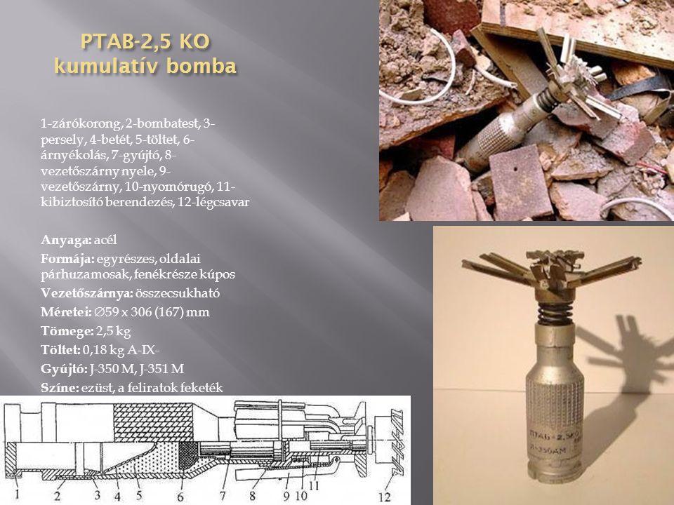 PTAB-1,5 kumulatív bomba 1-légcsavar (8), 2-légcsavar sapkája, 3- biztosító testek (3), 4-gyújtótest, 5- menet, 6-detonátor, 7-gyutacs, 8- ütőszeg, 9-rugó, 10-ütőtányér, 11- kumulatív tölcsér, 12-szikravezető cső, 13-erősítő, 14-töltet Méretei:  67 x 396 (203) mm Színe: teste sötétbarna, orra piros, a vezetőszárnyak fehérek, a gyújtó fekete Anyaga: test és a vezetőszárnyak műanyag, az orr és a gyújtó acél