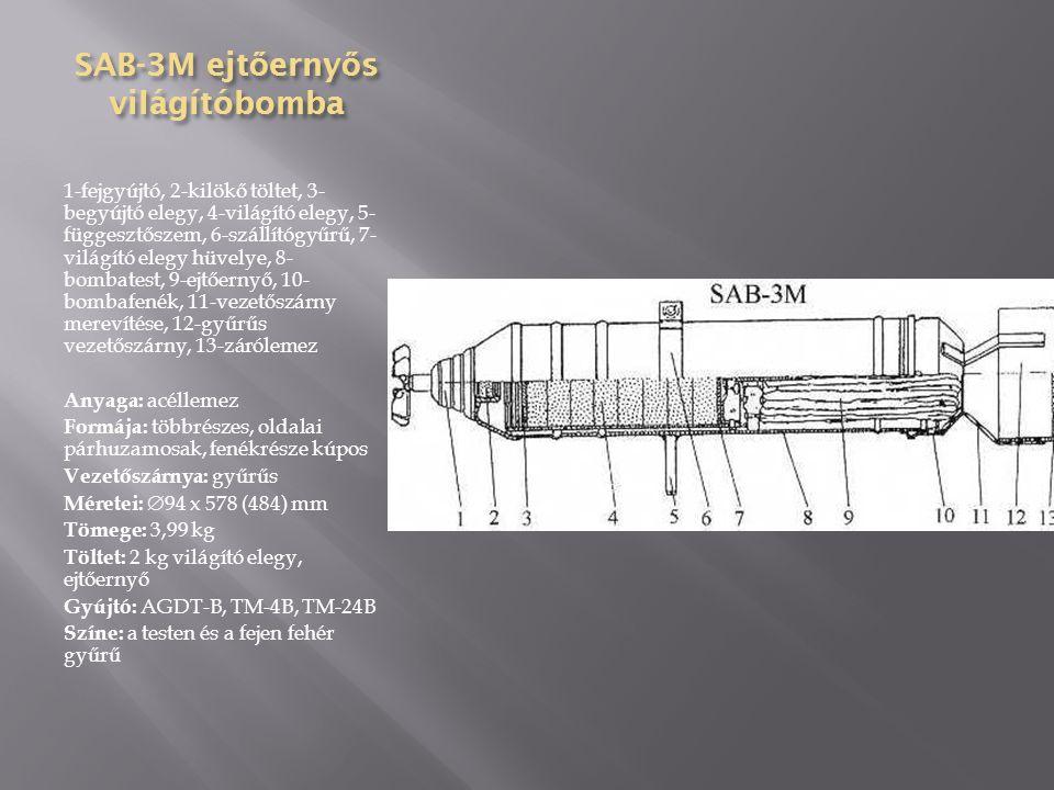 PTAB-2,5 M kumulatív bomba 1-gyújtóvédő gyűrű, 2-bombafej, 3-töltet, 4-betét, 5-detonátor, 6-detonátor tartó, 7- erősítőtöltet, 8-töltőkorong, 9-összekötő gyűrű, 10-vezetőszárny kúpja, 11- vezetőszárny, 12-vezetőszárny gyűrűje Anyaga: acél Formája: egyrészes, oldalai párhuzamosak, fenékrésze kúpos Vezetőszárnya: gyűrűs Méretei:  69 x 340 (182) mm Tömege: 2,8 kg Töltet: 0,43 kg TNT/RDX 50:50 Gyújtó: AV-524 M (eAZ-66) Színe: szürke, a testen fekete gyűrű