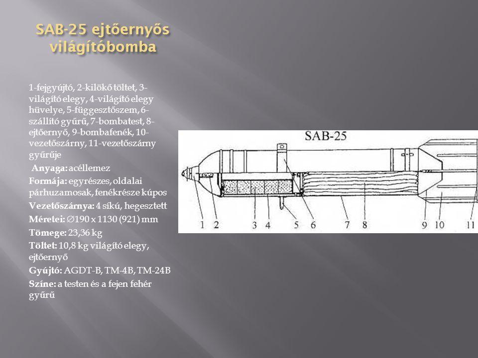 SAB-15 ejt ő erny ő s világítóbomba 1-fejgyújtó, 2-kilökő töltet, 3- begyújtó elegy, 4-szállító gyűrű, 5- függesztőszem, 6-világító elegy, 7- világító elegy hüvelye, 8- bombatest, 9-ejtőernyő, 10- bombafenék, 11-vezetőszárny Anyaga: acéllemez Formája: egyrészes, oldalai párhuzamosak, fenékrésze kúpos Vezetőszárnya: 4 síkú, hegesztett Méretei:  160 x 990 (842) mm Tömege: 14,38 kg Töltet: 7,98 kg világító elegy, ejtőernyő Gyújtó: AGDT-B, TM-4B, TM-24B Színe: a testen és a fejen fehér gyűrű