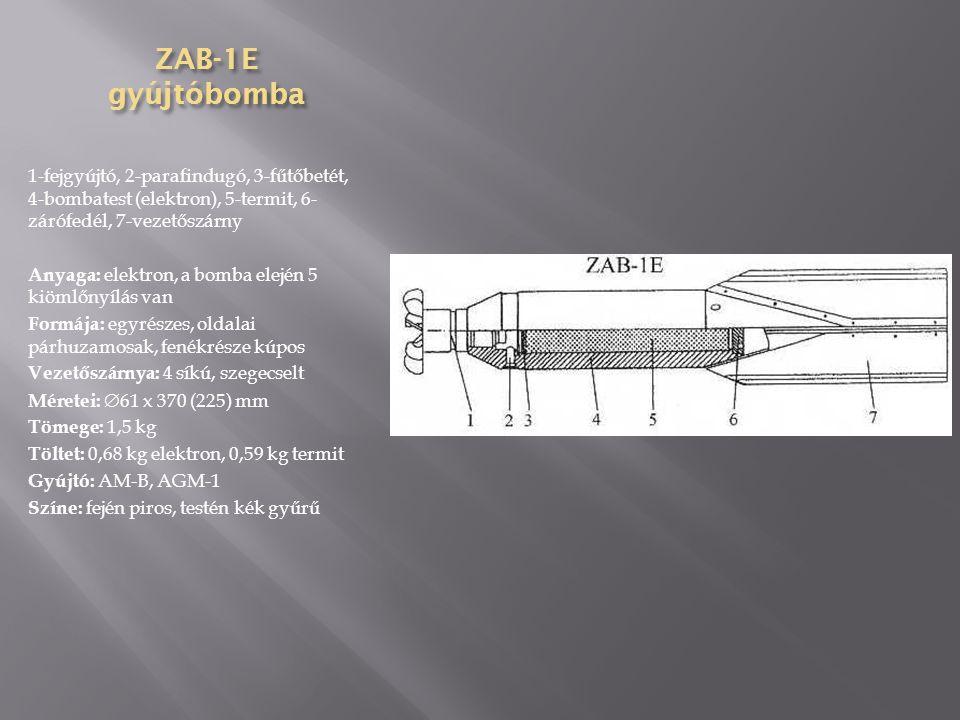 SAB-25 ejt ő erny ő s világítóbomba 1-fejgyújtó, 2-kilökő töltet, 3- világító elegy, 4-világító elegy hüvelye, 5-függesztőszem, 6- szállító gyűrű, 7-bombatest, 8- ejtőernyő, 9-bombafenék, 10- vezetőszárny, 11-vezetőszárny gyűrűje Anyaga: acéllemez Formája: egyrészes, oldalai párhuzamosak, fenékrésze kúpos Vezetőszárnya: 4 síkú, hegesztett Méretei:  190 x 1130 (921) mm Tömege: 23,36 kg Töltet: 10,8 kg világító elegy, ejtőernyő Gyújtó: AGDT-B, TM-4B, TM-24B Színe: a testen és a fejen fehér gyűrű