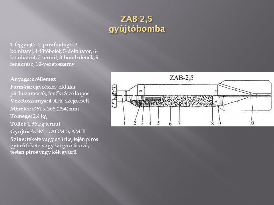 ZAB-1E gyújtóbomba 1-fejgyújtó, 2-parafindugó, 3-fűtőbetét, 4-bombatest (elektron), 5-termit, 6- zárófedél, 7-vezetőszárny Anyaga: elektron, a bomba elején 5 kiömlőnyílás van Formája: egyrészes, oldalai párhuzamosak, fenékrésze kúpos Vezetőszárnya: 4 síkú, szegecselt Méretei:  61 x 370 (225) mm Tömege: 1,5 kg Töltet: 0,68 kg elektron, 0,59 kg termit Gyújtó: AM-B, AGM-1 Színe: fején piros, testén kék gyűrű