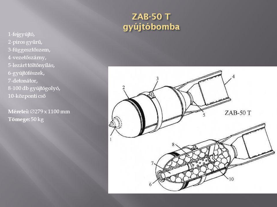 ZAB-10 TG gyújtóbomba 1-fejgyújtó, 2-bombafej, 3- parafindugó, 4-detonátor, 5- függesztőszem, 6-szállítógyűrű, 7- termit, 8-bombatest, 9-közbenső gyűrű, 10-hegesztés, 11-naftalin, 12- vezetőszárny, 13-zárócsavar, 14- gyűrűs vezetőszárny Anyaga: acéllemez Formája: egyrészes, oldalai párhuzamosak, fenékrésze kúpos Vezetőszárnya: gyűrűs, hegesztett Méretei:  107 x 610 (465) mm Tömege: 10,25 kg Töltet: 4,35 kg termit, 1,35 kg naftalin Gyújtó: AGM-1, AGM-3, AM-B Színe: fekete vagy szürke