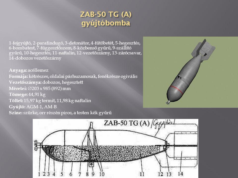 ZAB-50 T gyújtóbomba 1-fejgyújtó, 2-piros gyűrű, 3-függesztőszem, 4-vezetőszárny, 5-lezárt töltőnyílás, 6-gyújtófészek, 7-detonátor, 8-100 db gyújtógolyó, 10-központi cső Méretei:  279 x 1100 mm Tömege: 50 kg