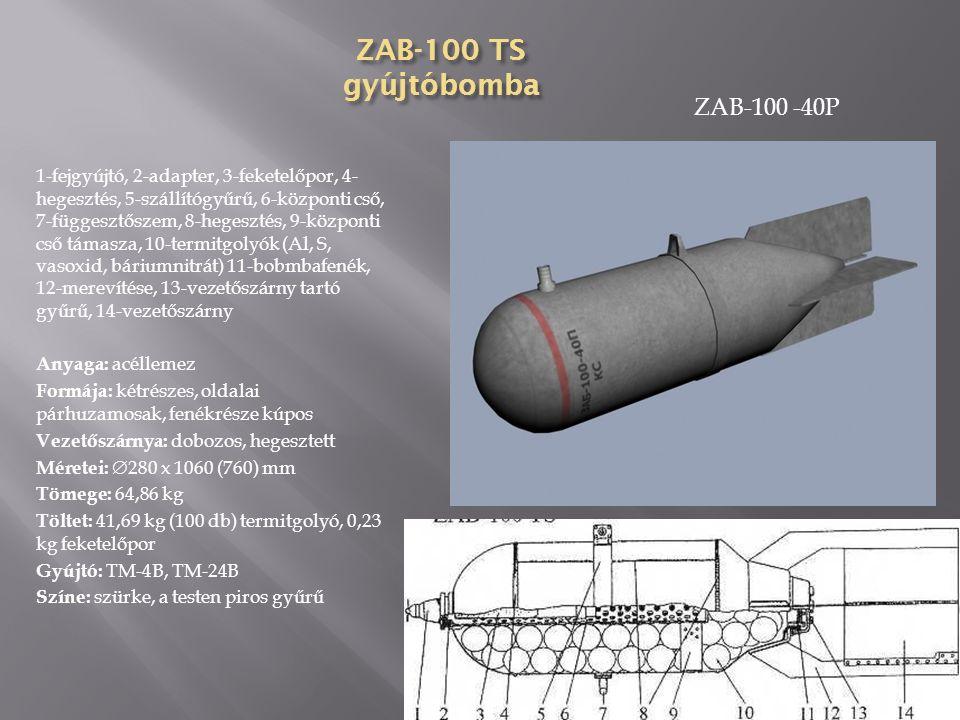 ZAB-50 TG (A) gyújtóbomba 1-fejgyújtó, 2-parafindugó, 3-detonátor, 4-fűtőbetét, 5-hegesztés, 6-bombatest, 7-függesztőszem, 8-közbenső gyűrű, 9-szállító gyűrű, 10-hegesztés, 11-naftalin, 12-vezetőszárny, 13-zárócsavar, 14-dobozos vezetőszárny Anyaga: acéllemez Formája: kétrészes, oldalai párhuzamosak, fenékrésze ogivális Vezetőszárnya: dobozos, hegesztett Méretei:  203 x 985 (892) mm Tömege: 44,91 kg Töltet: 15,97 kg termit, 11,98 kg naftalin Gyújtó: AGM-1, AM-B Színe: szürke, orr részén piros, a testen kék gyűrű