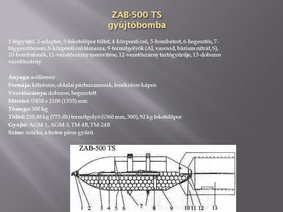 ZAB-100 TS gyújtóbomba 1-fejgyújtó, 2-adapter, 3-feketelőpor, 4- hegesztés, 5-szállítógyűrű, 6-központi cső, 7-függesztőszem, 8-hegesztés, 9-központi cső támasza, 10-termitgolyók (Al, S, vasoxid, báriumnitrát) 11-bobmbafenék, 12-merevítése, 13-vezetőszárny tartó gyűrű, 14-vezetőszárny Anyaga: acéllemez Formája: kétrészes, oldalai párhuzamosak, fenékrésze kúpos Vezetőszárnya: dobozos, hegesztett Méretei:  280 x 1060 (760) mm Tömege: 64,86 kg Töltet: 41,69 kg (100 db) termitgolyó, 0,23 kg feketelőpor Gyújtó: TM-4B, TM-24B Színe: szürke, a testen piros gyűrű ZAB-100 -40P