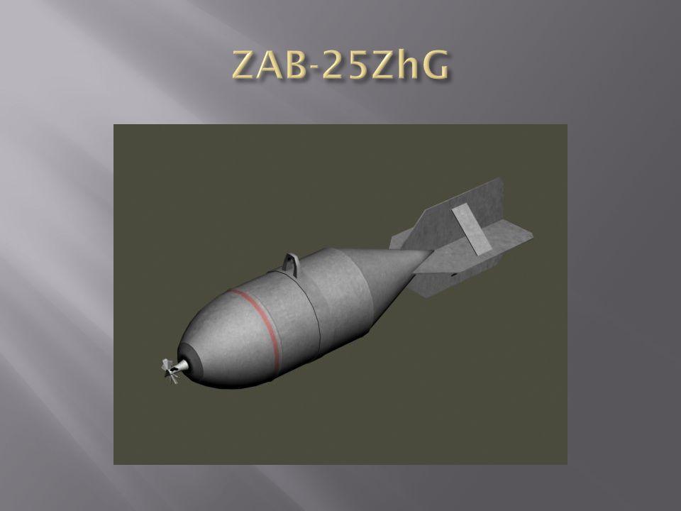 ZAB-500 TS gyújtóbomba 1-fejgyújtó, 2-adapter, 3-feketelőpor töltet, 4-központi cső, 5-bombatest, 6-hegesztés, 7- függesztőszem, 8-központi cső támasza, 9-termitgolyók (Al, vasoxid, bárium nitrát, S), 10-bombafenék, 11-vezetőszárny merevítése, 12-vezetőszárny tartógyűrűje, 13-dobozos vezetőszárny Anyaga: acéllemez Formája: kétrészes, oldalai párhuzamosak, fenékrésze kúpos Vezetőszárnya: dobozos, hegesztett Méretei:  450 x 2108 (1555) mm Tömege: 300 kg Töltet: 230,88 kg (775 db) termitgolyó (  60 mm, 300), 92 kg feketelőpor Gyújtó: AGM-1, AGM-3, TM-4B, TM-24B Színe: szürke, a testen piros gyűrű
