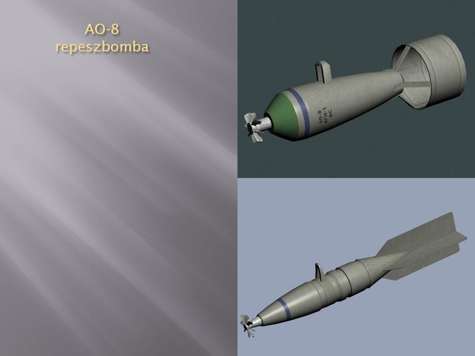 AO-2,5 repeszbomba 1-fejgyújtó, 2-erősítő töltet, 3-töltet, 4-bombatest, 5-vezetőszárny, 6- vezetőszárny merevítése Anyaga: öntöttacél Formája: egyrészes, oldalai párhuzamosak, fenékrésze egyenes Vezetőszárnya: 4 síkú Méretei:  52 x 370 (210) mm Tömege: 2,4 kg Töltet: 0,19 kg TNT Gyújtó: AM-A, AGM-1, AGM-3, TM-4A, AV-4 Színe: szürke, fekete, fején kék gyűrű, a testen zöld gyűrű