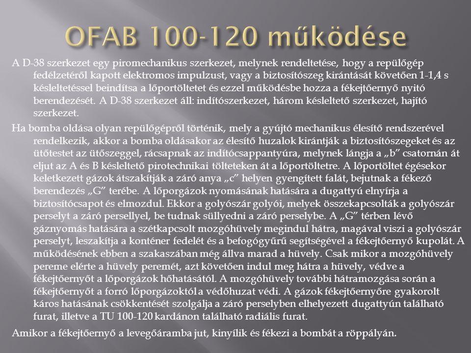 Az OFAB 100-120 bomba hegesztett acél szerkezet, amely a köpenyből áll, ami meg van töltve robbanóanyaggal, s a végén a gyűrűs keresztszárnyas stabilizátorok találhatók.