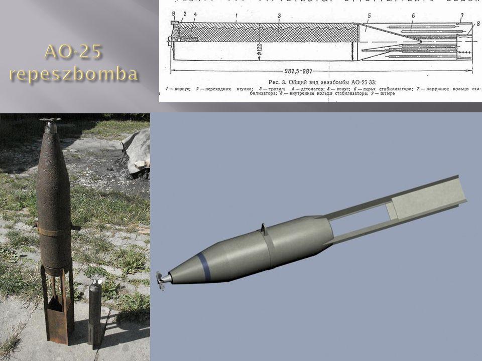 AO-20 M3 repeszbomba Anyaga: öntöttacél Formája: egyrészes, oldalai párhuzamosak, fenékrésze egyenes, 120 mm-es tüzérségi lövedékből van Vezetőszárnya: 4 síkú, hegesztett Méretei:  120 x 983 (400) mm Tömege: 21 kg Töltet: 3 kg TNT Gyújtó: AM-A, AGM-3