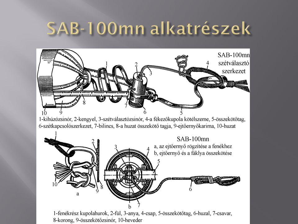 SAB-5015 A bombatest átmérője: 280 mm A bomba hossza gyújtó nélkül: 1059-1065 mm A fáklya minimális égési időtartama: 7,5 perc Jellemző égési idő: 22,5 perc A repülőbomba tömege: 105,4 kg A világítótöltet tömege: 39,13 kg Színe: test szürke, a fejrész felől a hengeres részen fehér színű gyűrűs sáv található, a bombák csomagolása zöld, A bombán található feliratok feketék.