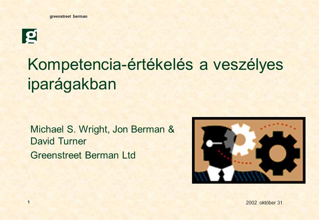 greenstreet berman 2002. október 31. 1 Kompetencia-értékelés a veszélyes iparágakban Michael S.