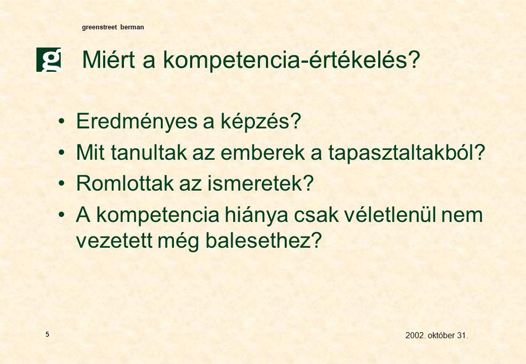 greenstreet berman 2002. október 31. 5 Miért a kompetencia-értékelés.