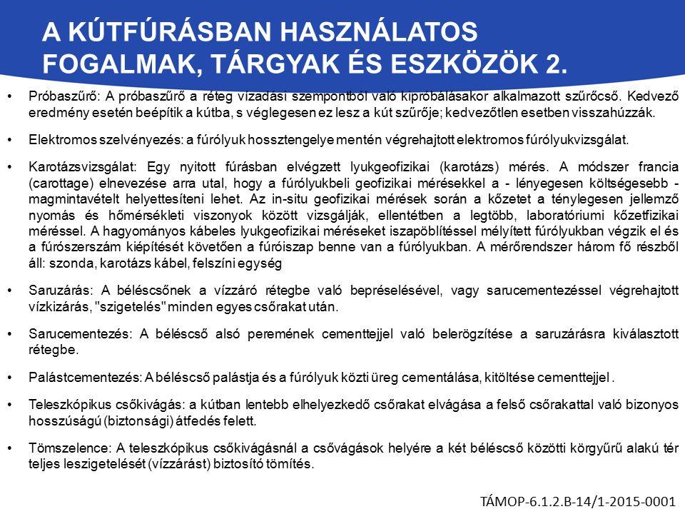 A KÚTFÚRÁSBAN HASZNÁLATOS FOGALMAK, TÁRGYAK ÉS ESZKÖZÖK 2.