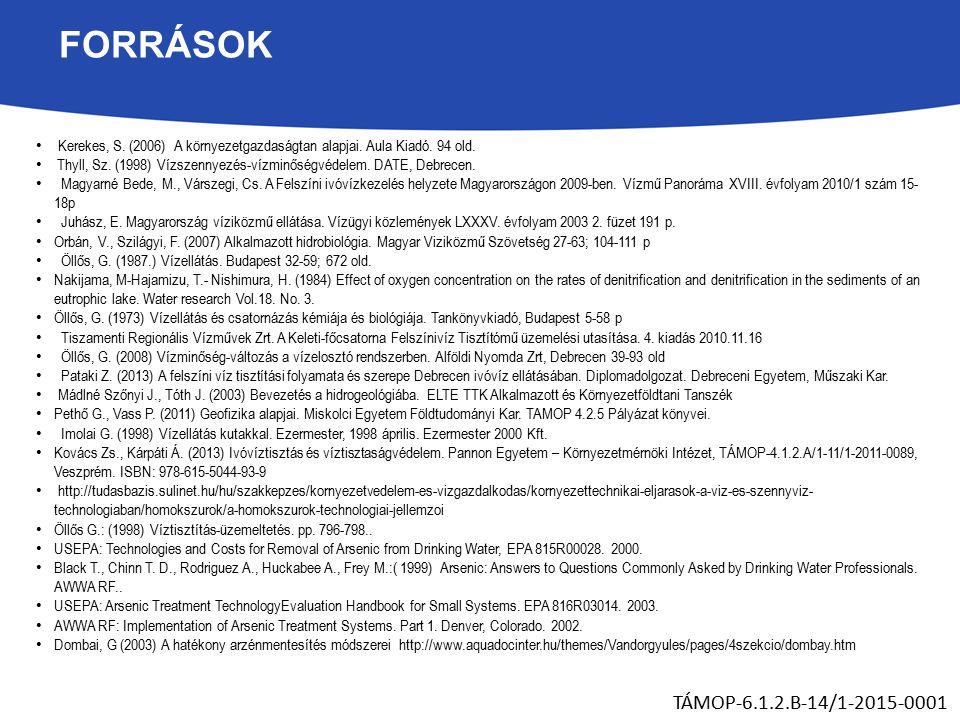 FORRÁSOK Kerekes, S. (2006) A környezetgazdaságtan alapjai.