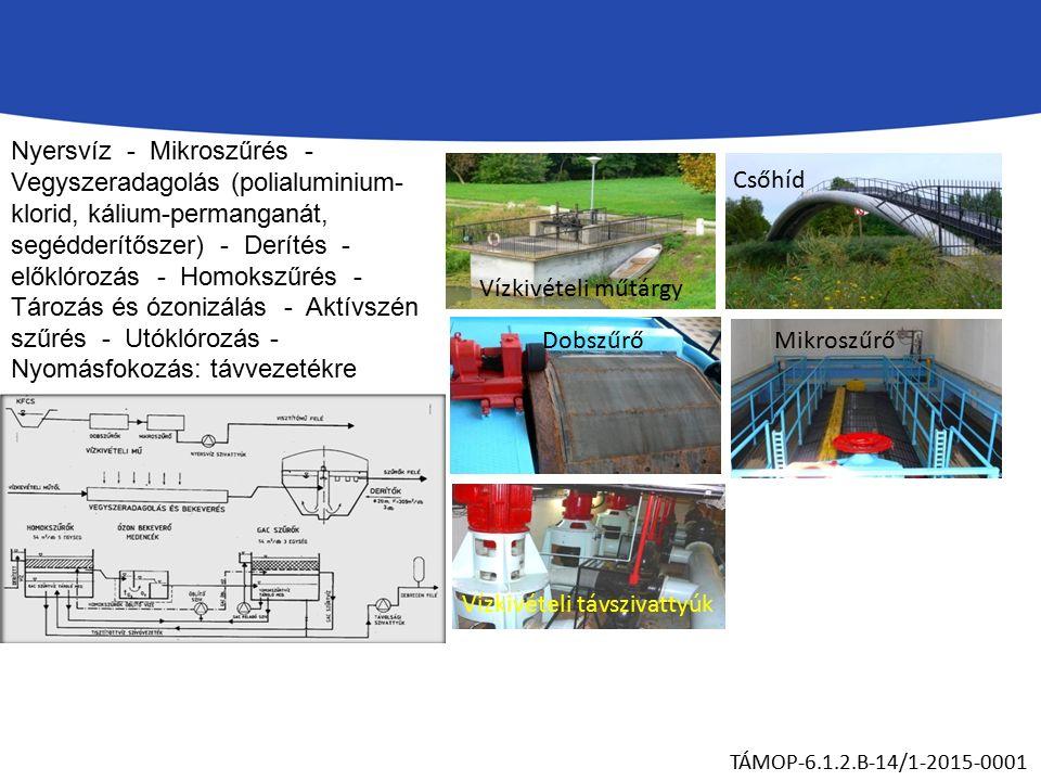 Nyersvíz - Mikroszűrés - Vegyszeradagolás (polialuminium- klorid, kálium-permanganát, segédderítőszer) - Derítés - előklórozás - Homokszűrés - Tározás és ózonizálás - Aktívszén szűrés - Utóklórozás - Nyomásfokozás: távvezetékre TÁMOP-6.1.2.B-14/1-2015-0001 Vízkivételi műtárgy Csőhíd DobszűrőMikroszűrő Vízkivételi távszivattyúk