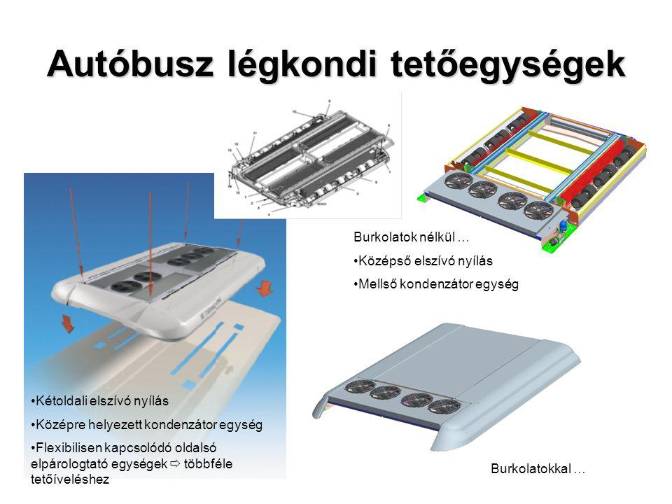 """Általános Autóbusz Hűtőkör Általános leírás Kondenzátor egység  axiális ventilátorok  Fordulatszám vezérlés  soros / párhuzamos kapcsolás, illetve fokozatmentes a nyomóoldali nyomásérték függvényében Elpárologtató egység  radiál ikerbefúvók  Fordulatszám vezérlés  3-fokozat, vagy fokozatmentes Teljesítmény szabályozás  Kompresszor tengelykapcsoló  """"Bypass szelep  Elpárologtató egység nyomásszabályzó szelep (EPR)  Elpárologtató egység ventilátor fordulatszám szabályozás  Kompresszor fordulatszám (meghajtás áttételi viszony)"""