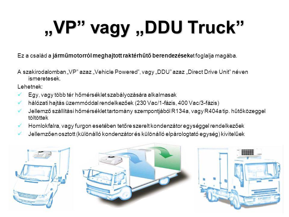 """""""VP"""" vagy """"DDU Truck"""" Ez a család a járműmotorról meghajtott raktérhűtő berendezéseket foglalja magába. A szakirodalomban """"VP"""" azaz """"Vehicle Powered"""","""