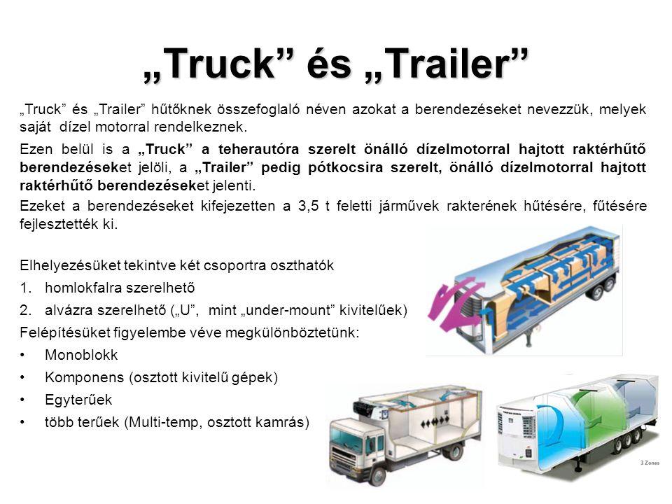 """""""Truck és """"Trailer """"Truck és """"Trailer hűtőknek összefoglaló néven azokat a berendezéseket nevezzük, melyek saját dízel motorral rendelkeznek."""