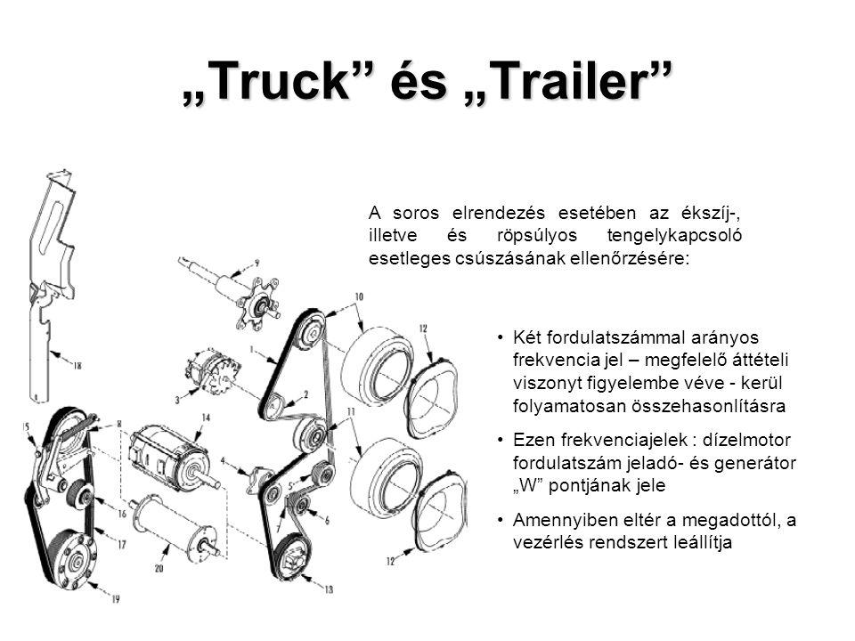 """""""Truck és """"Trailer Két fordulatszámmal arányos frekvencia jel – megfelelő áttételi viszonyt figyelembe véve - kerül folyamatosan összehasonlításra Ezen frekvenciajelek : dízelmotor fordulatszám jeladó- és generátor """"W pontjának jele Amennyiben eltér a megadottól, a vezérlés rendszert leállítja A soros elrendezés esetében az ékszíj-, illetve és röpsúlyos tengelykapcsoló esetleges csúszásának ellenőrzésére:"""