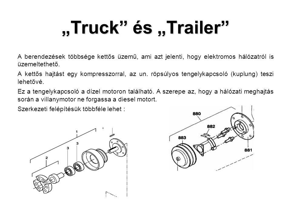 """""""Truck"""" és """"Trailer"""" A berendezések többsége kettős üzemű, ami azt jelenti, hogy elektromos hálózatról is üzemeltethető. A kettős hajtást egy kompress"""