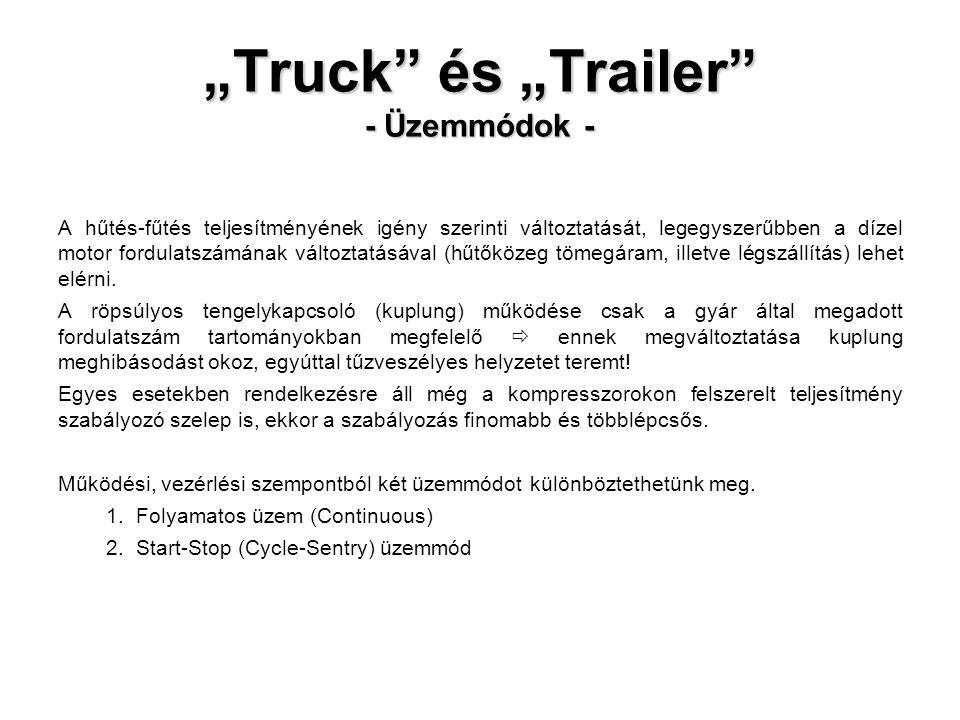 """""""Truck és """"Trailer - Üzemmódok - A hűtés-fűtés teljesítményének igény szerinti változtatását, legegyszerűbben a dízel motor fordulatszámának változtatásával (hűtőközeg tömegáram, illetve légszállítás) lehet elérni."""