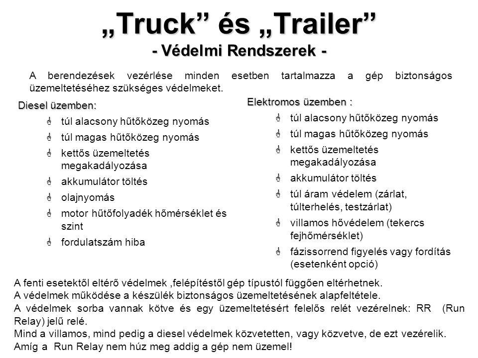 """""""Truck"""" és """"Trailer"""" - Védelmi Rendszerek - Diesel üzemben:  túl alacsony hűtőközeg nyomás  túl magas hűtőközeg nyomás  kettős üzemeltetés megakadá"""