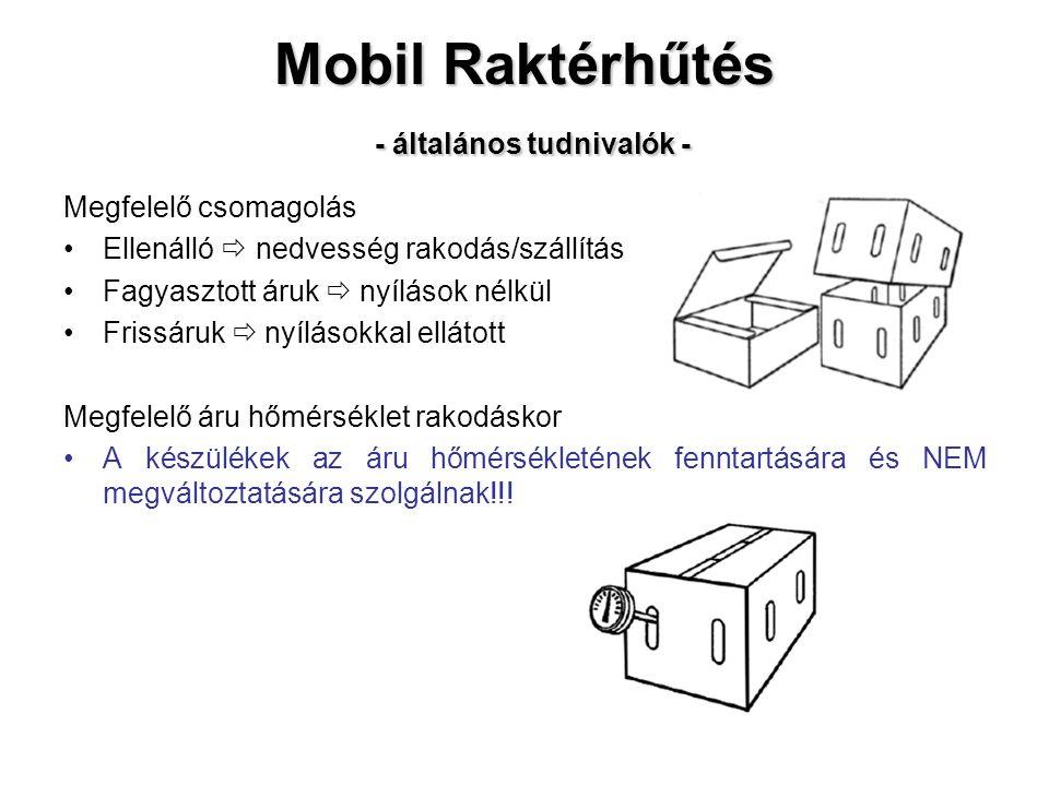 Mobil Raktérhűtés - általános tudnivalók - Megfelelő csomagolás Ellenálló  nedvesség rakodás/szállítás Fagyasztott áruk  nyílások nélkül Frissáruk  nyílásokkal ellátott Megfelelő áru hőmérséklet rakodáskor A készülékek az áru hőmérsékletének fenntartására és NEM megváltoztatására szolgálnak!!!