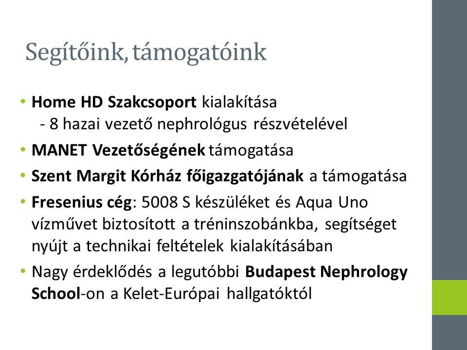 Segítőink, támogatóink Home HD Szakcsoport kialakítása - 8 hazai vezető nephrológus részvételével MANET Vezetőségének támogatása Szent Margit Kórház főigazgatójának a támogatása Fresenius cég: 5008 S készüléket és Aqua Uno vízművet biztosított a tréninszobánkba, segítséget nyújt a technikai feltételek kialakításában Nagy érdeklődés a legutóbbi Budapest Nephrology School-on a Kelet-Európai hallgatóktól