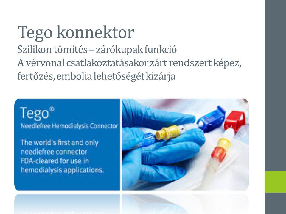 Tego konnektor Szilikon tömítés – zárókupak funkció A vérvonal csatlakoztatásakor zárt rendszert képez, fertőzés, embolia lehetőségét kizárja