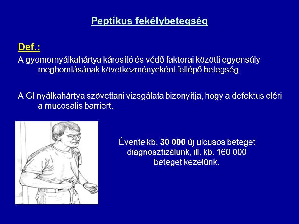 Peptikus fekélybetegség Def.: A gyomornyálkahártya károsító és védő faktorai közötti egyensúly megbomlásának következményeként fellépő betegség.