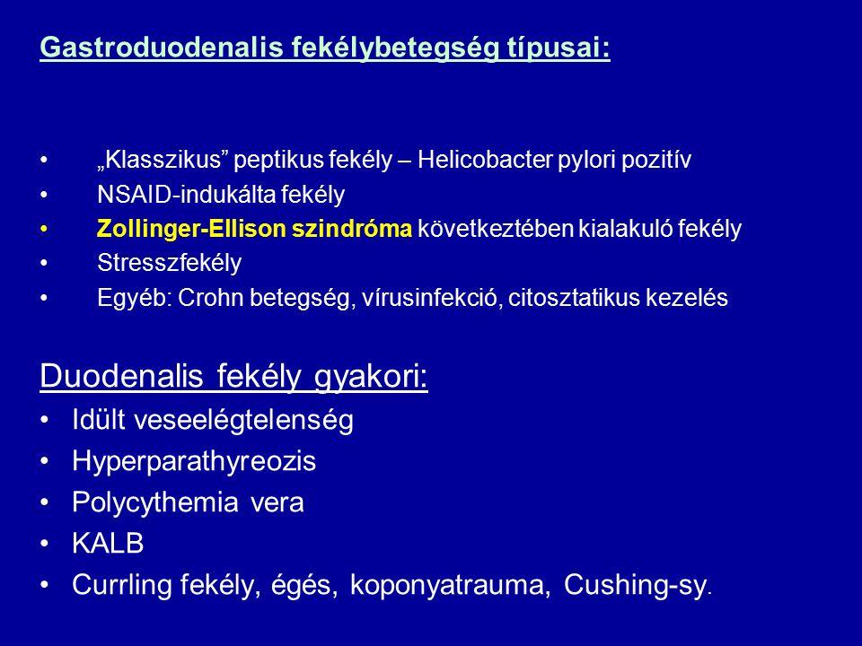 """Gastroduodenalis fekélybetegség típusai: """"Klasszikus peptikus fekély – Helicobacter pylori pozitív NSAID-indukálta fekély Zollinger-Ellison szindróma következtében kialakuló fekély Stresszfekély Egyéb: Crohn betegség, vírusinfekció, citosztatikus kezelés Duodenalis fekély gyakori: Idült veseelégtelenség Hyperparathyreozis Polycythemia vera KALB Currling fekély, égés, koponyatrauma, Cushing-sy."""