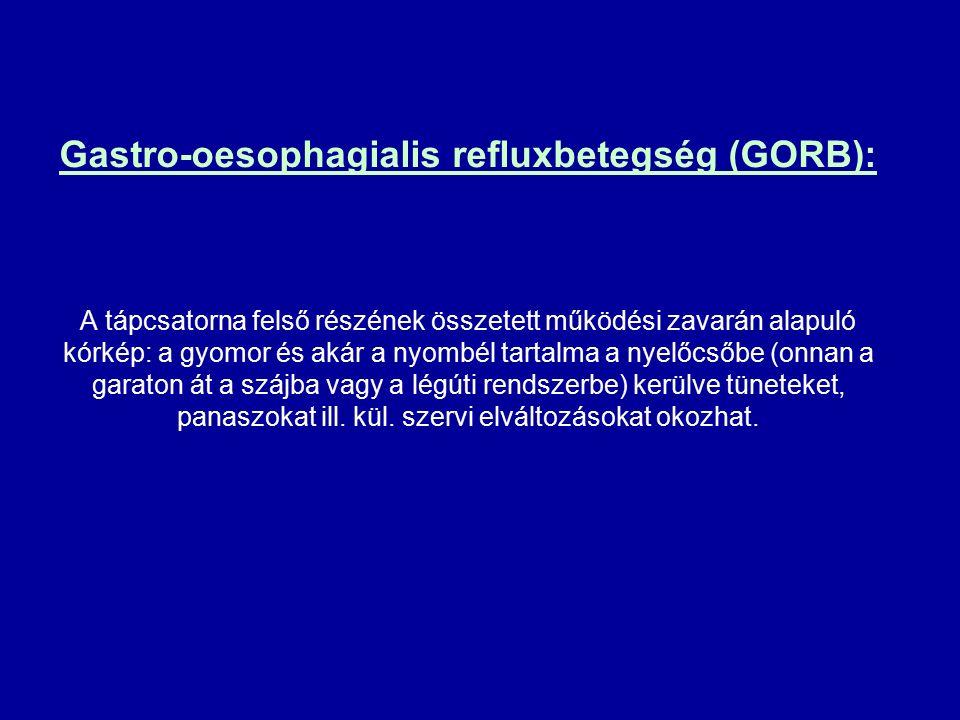 Gastro-oesophagialis refluxbetegség (GORB): A tápcsatorna felső részének összetett működési zavarán alapuló kórkép: a gyomor és akár a nyombél tartalma a nyelőcsőbe (onnan a garaton át a szájba vagy a légúti rendszerbe) kerülve tüneteket, panaszokat ill.
