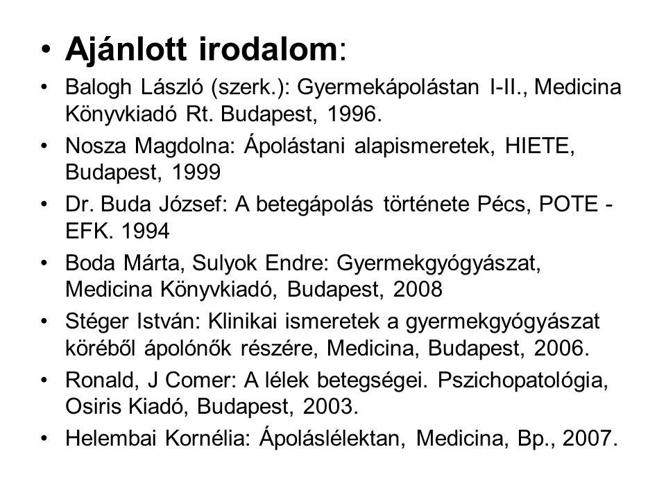 Ajánlott irodalom: Balogh László (szerk.): Gyermekápolástan I-II., Medicina Könyvkiadó Rt.