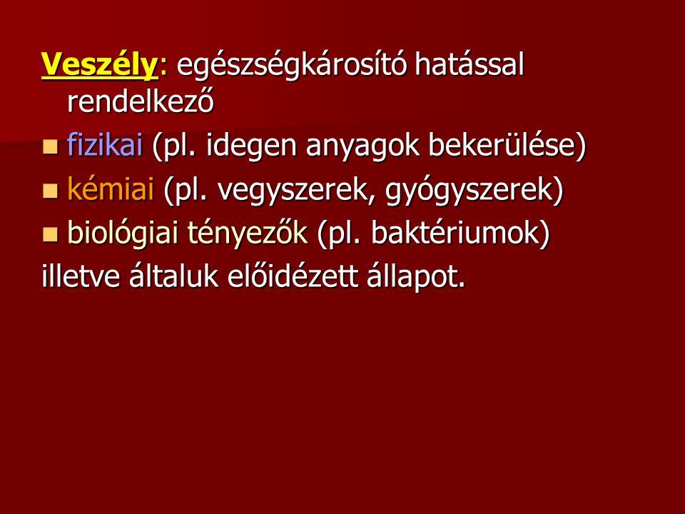 Veszély: egészségkárosító hatással rendelkező fizikai (pl.
