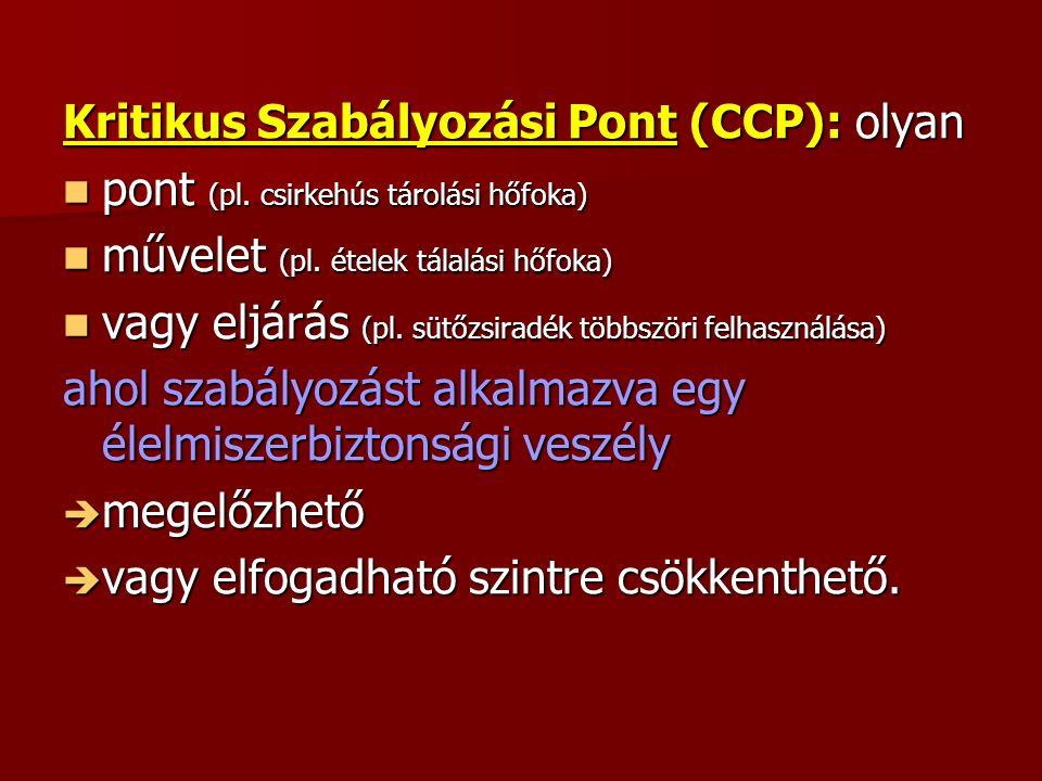Kritikus Szabályozási Pont (CCP): olyan pont (pl. csirkehús tárolási hőfoka) pont (pl.