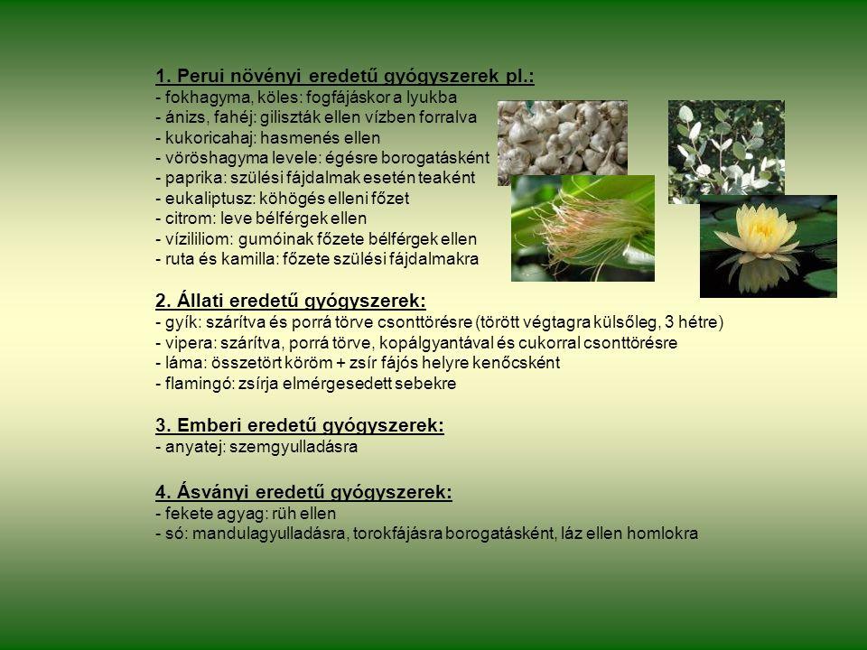 1. Perui növényi eredetű gyógyszerek pl.: - fokhagyma, köles: fogfájáskor a lyukba - ánizs, fahéj: giliszták ellen vízben forralva - kukoricahaj: hasm