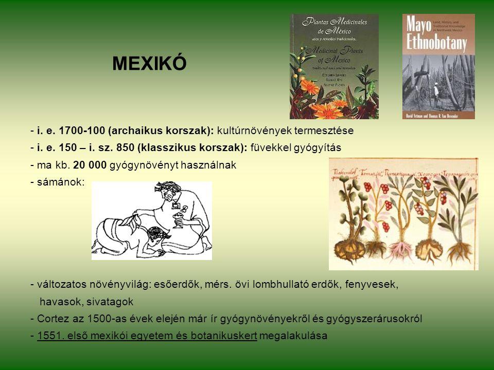 MEXIKÓ - i. e. 1700-100 (archaikus korszak): kultúrnövények termesztése - i.