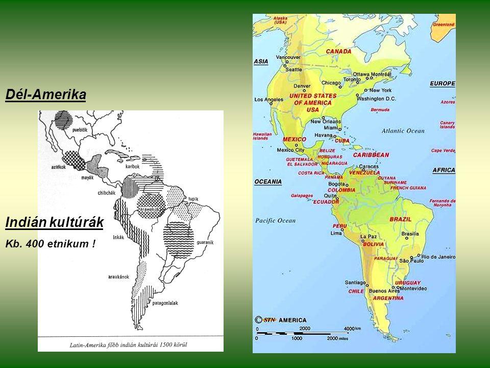 Indián kultúrák Kb. 400 etnikum ! Dél-Amerika
