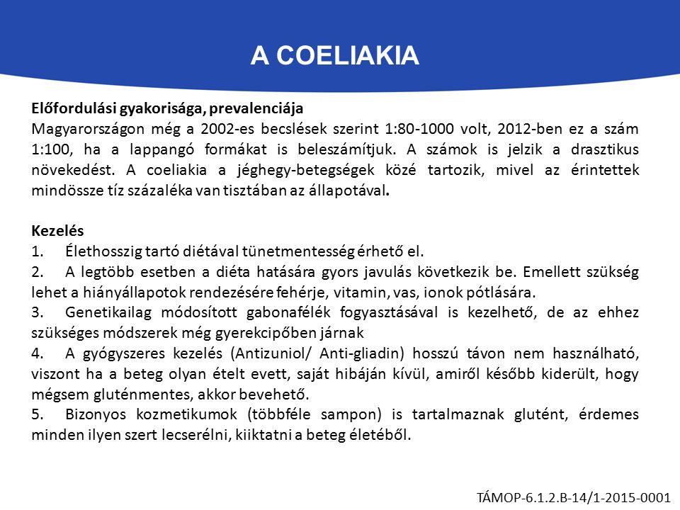 A COELIAKIA TÁMOP-6.1.2.B-14/1-2015-0001 Előfordulási gyakorisága, prevalenciája Magyarországon még a 2002-es becslések szerint 1:80-1000 volt, 2012-ben ez a szám 1:100, ha a lappangó formákat is beleszámítjuk.