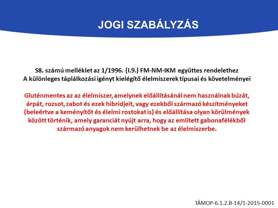 JOGI SZABÁLYZÁS TÁMOP-6.1.2.B-14/1-2015-0001 S8. számú melléklet az 1/1996.