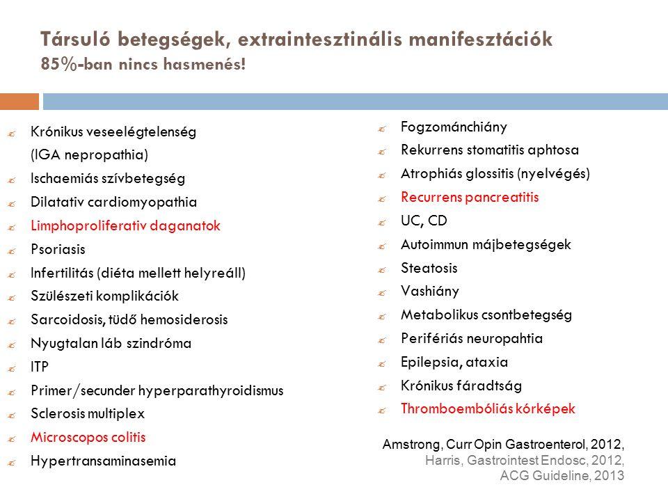 Társuló betegségek, extraintesztinális manifesztációk 85%-ban nincs hasmenés.