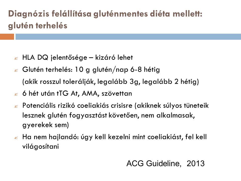 Diagnózis felállítása gluténmentes diéta mellett: glutén terhelés  HLA DQ jelentősége – kizáró lehet  Glutén terhelés: 10 g glutén/nap 6-8 hétig (akik rosszul tolerálják, legalább 3g, legalább 2 hétig)  6 hét után tTG At, AMA, szövettan  Potenciális rizikó coeliakiás crisisre (akiknek súlyos tüneteik lesznek glutén fogyasztást követően, nem alkalmasak, gyerekek sem)  Ha nem hajlandó: úgy kell kezelni mint coeliakiást, fel kell világosítani ACG Guideline, 2013
