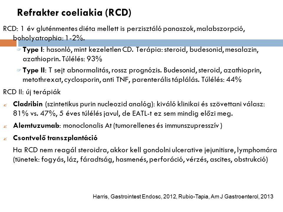 Refrakter coeliakia (RCD) RCD: 1 év gluténmentes diéta mellett is perzisztáló panaszok, malabszorpció, boholyatrophia: 1-2%.