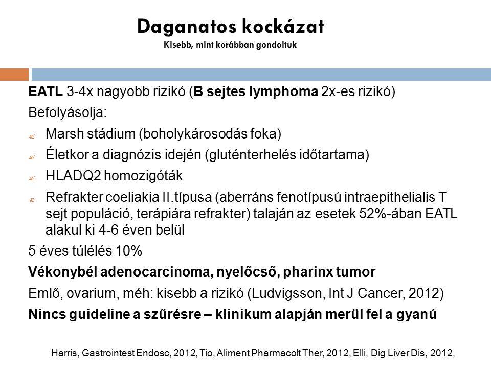 Daganatos kockázat Kisebb, mint korábban gondoltuk EATL 3-4x nagyobb rizikó (B sejtes lymphoma 2x-es rizikó) Befolyásolja:  Marsh stádium (boholykárosodás foka)  Életkor a diagnózis idején (gluténterhelés időtartama)  HLADQ2 homozigóták  Refrakter coeliakia II.típusa (aberráns fenotípusú intraepithelialis T sejt populáció, terápiára refrakter) talaján az esetek 52%-ában EATL alakul ki 4-6 éven belül 5 éves túlélés 10% Vékonybél adenocarcinoma, nyelőcső, pharinx tumor Emlő, ovarium, méh: kisebb a rizikó (Ludvigsson, Int J Cancer, 2012) Nincs guideline a szűrésre – klinikum alapján merül fel a gyanú Harris, Gastrointest Endosc, 2012, Tio, Aliment Pharmacolt Ther, 2012, Elli, Dig Liver Dis, 2012,