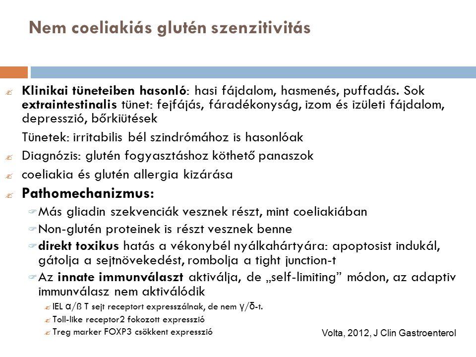 Nem coeliakiás glutén szenzitivitás  Klinikai tüneteiben hasonló: hasi fájdalom, hasmenés, puffadás.