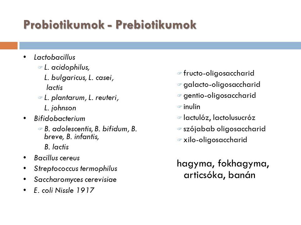 Probiotikumok - Prebiotikumok Lactobacillus  L. acidophilus, L.