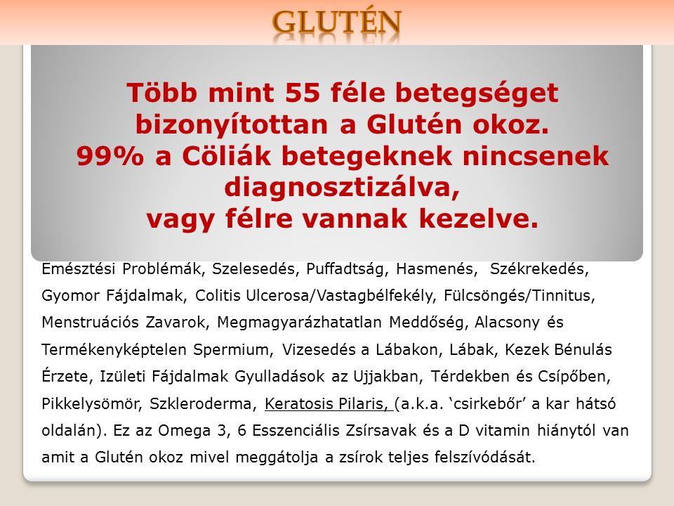Több mint 55 féle betegséget bizonyítottan a Glutén okoz.
