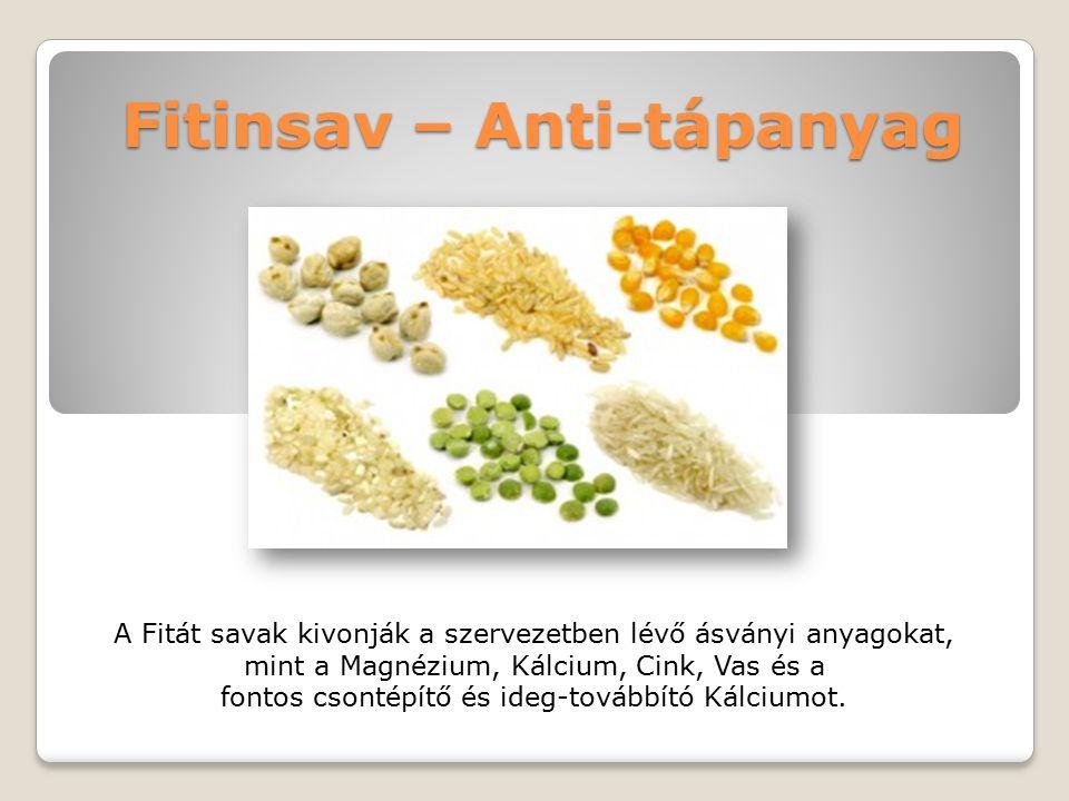 Fitinsav – Anti-tápanyag A Fitát savak kivonják a szervezetben lévő ásványi anyagokat, mint a Magnézium, Kálcium, Cink, Vas és a fontos csontépítő és ideg-továbbító Kálciumot.