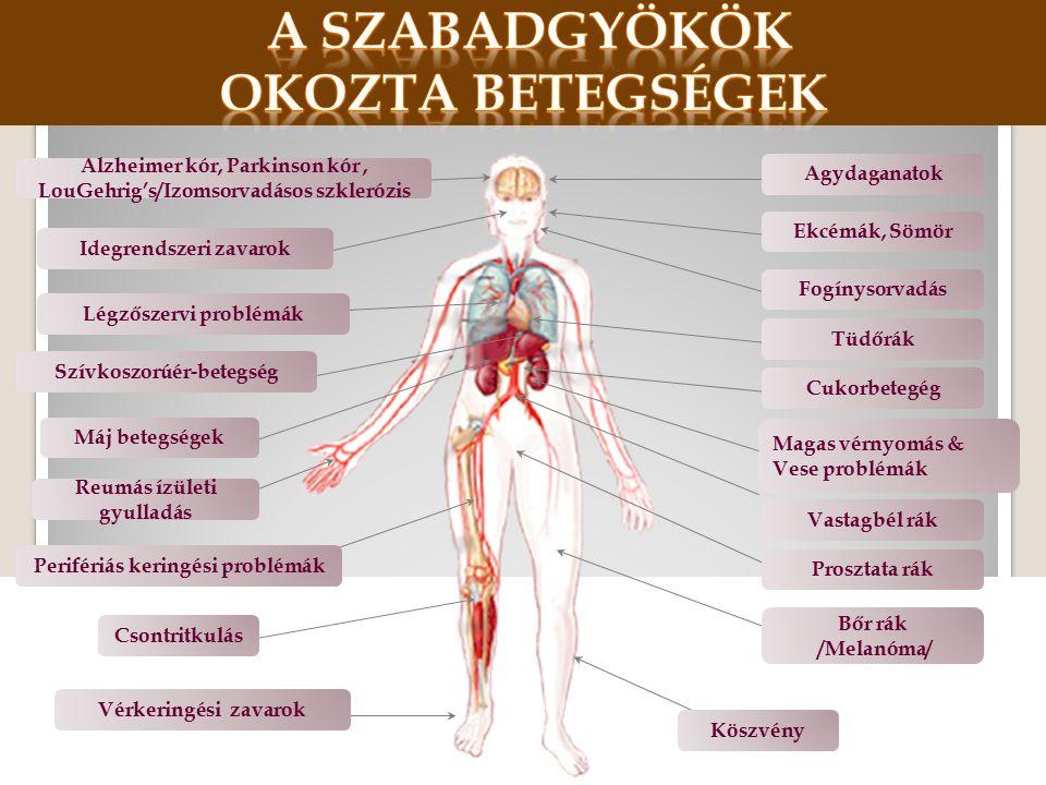 Agydaganatok Ekcémák, Sömör Fogínysorvadás Tüdőrák Cukorbetegég Magas vérnyomás & Vese problémák Prosztata rák Vastagbél rák Bőr rák /Melanóma/ Alzheimer kór, Parkinson kór, LouGehrig's/Izomsorvadásos szklerózis Idegrendszeri zavarok Légzőszervi problémák Szívkoszorúér-betegség Máj betegségek Perifériás keringési problémák Reumás ízületi gyulladás Csontritkulás Vérkeringési zavarok Köszvény